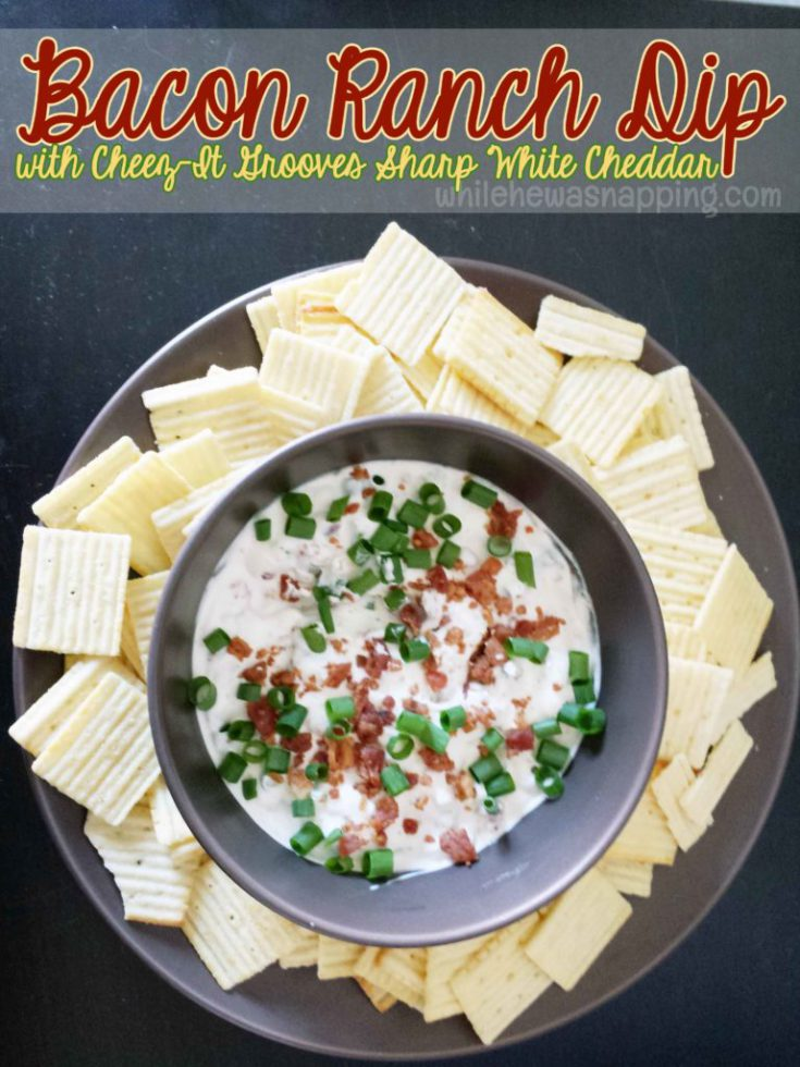Super easy Bacon Ranch Dip served with chips - White Cheddar flavor recommended for a great flavor pairing.  Perfect for parties!