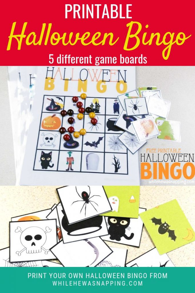 Bingo is always a favorite kid game! Add some spook to your game with this Printable Halloween Bingo Game. There are 5 different Halloween Bingo board layouts to make the game a little more exciting and difficult for older kids. Halloween Bingo is the perfect Halloween game for parties, class rooms and laid back afternoons with the kids.
