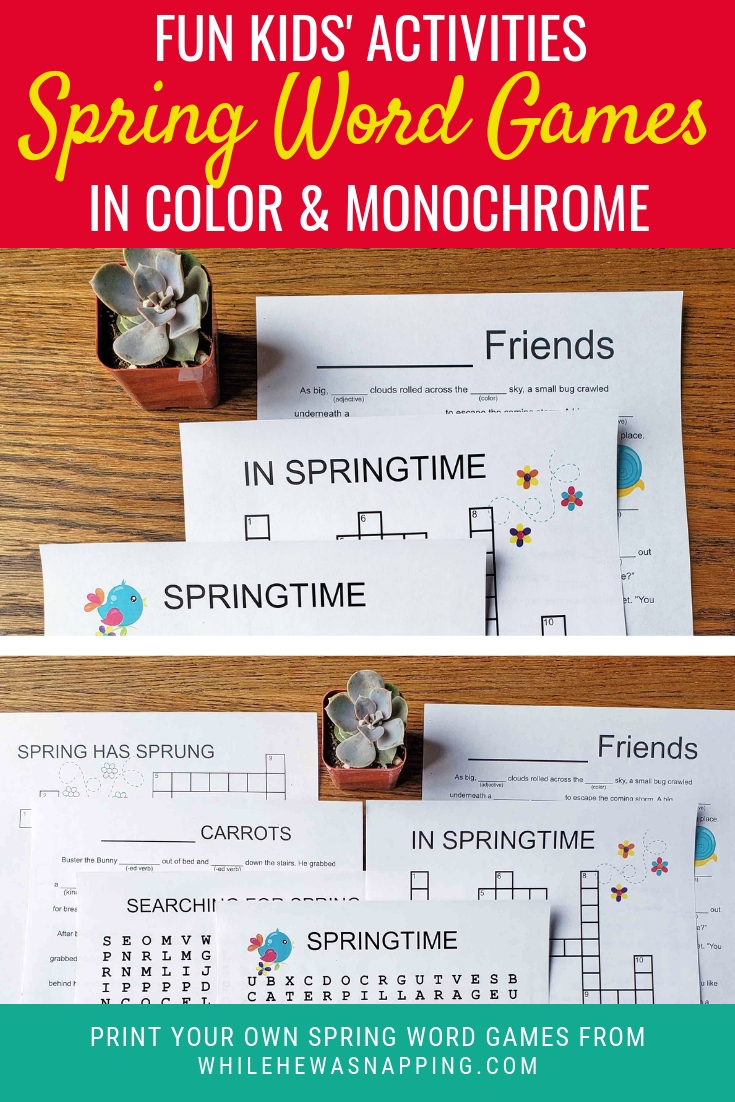 Kids Printable Spring Word Games